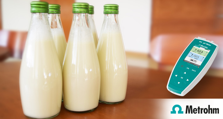 Measuring the pH value of dairy products